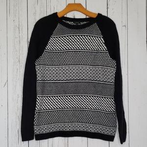 Talbots Black and White Lambswool Sweater Medium